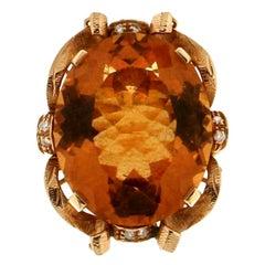 Handcraft Citrine 18 Karat Yellow Gold Diamonds Cocktail Ring