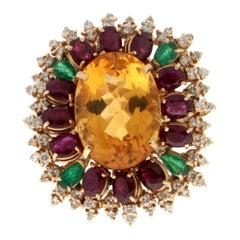 Handcraft Citrine 18 Karat Yellow Gold Diamonds Ruby Emerald Cocktail Ring