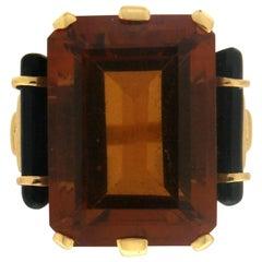 Handcraft Citrine 18 Karat Yellow Gold Onyx Barrels Cocktail Ring