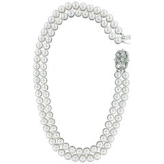 Handcraft Clasp 18 Karat White Gold Japan Pearls Diamonds Multi-Strand Necklace