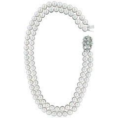 Handcraft Clasp 18 Karat White Gold Pearls and Diamonds Multi-Strand Necklace