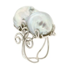 Handcraft Cocktail Ring in 18 Karat White Gold and Baroque Pearls