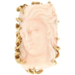 Handcraft Cocktail Ring in Yellow Gold 14 Karat and Natural Pink Coral