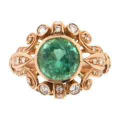 Handcraft Colombian Emerald 14 Karat Yellow Gold Diamonds Cocktail Ring