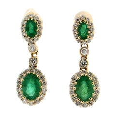 Handcraft Colombian Emerald 14 Karat Yellow Gold Diamonds Drop Earrings
