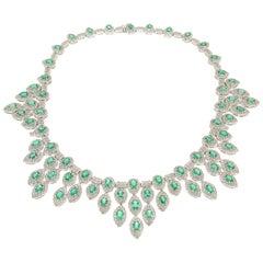 Handcraft Colombian Emeralds 18 Karat White Gold Diamonds Choker Necklace
