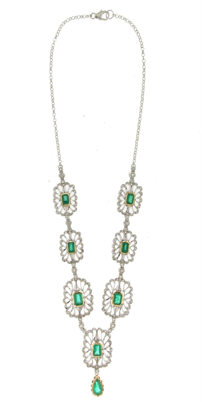 Mixed Cut Handcraft Colombian Emeralds 18 Karat White Gold Diamonds Drop Necklace For Sale