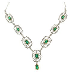 Handcraft Colombian Emeralds 18 Karat White Gold Diamonds Drop Necklace