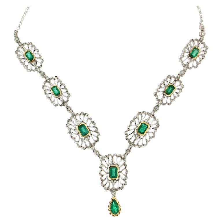 Handcraft Colombian Emeralds 18 Karat White Gold Diamonds Drop Necklace For Sale