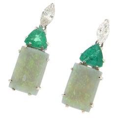 Handcraft Colombian Emeralds 18 Karat White Gold Diamonds Opal Drop Earrings