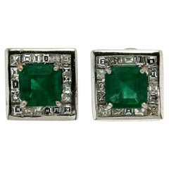 Handcraft Colombian Emeralds 18 Karat White Gold Diamonds Stud Earrings
