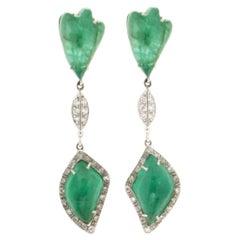 Handcraft Colombian Emeralds 18 Karat White Gold Drop Earrings