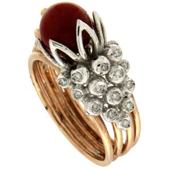 Handcraft Coral 14 Karat Yellow and White Gold Diamonds Cocktail Ring