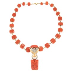 Handcraft Coral 14 Karat Yellow and White Gold Diamonds Pendant Necklace
