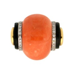 Handcraft Coral 14 Karat Yellow and White Gold Onyx Diamonds Cocktail Ring