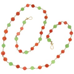 Handcraft Coral 14 Karat Yellow Gold Agate Beaded Necklace