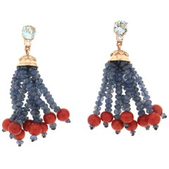 Handcraft Coral 14 Karat Yellow Gold Aquamarine Sapphires Diamonds Drop Earrings
