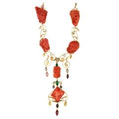Handcraft Coral 14 Karat Yellow Gold Diamonds Choker Necklace