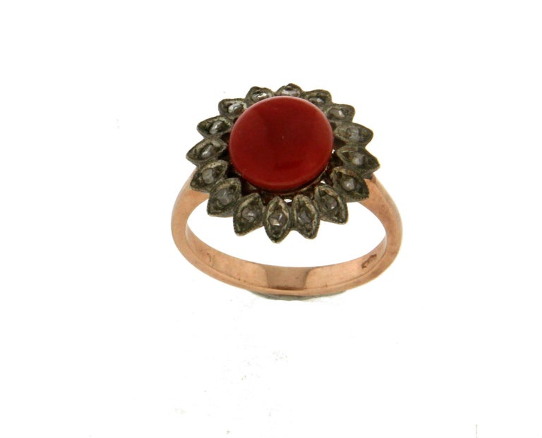 Artisan Handcraft Coral 14 Karat Yellow Gold Diamonds Cocktail Ring For Sale
