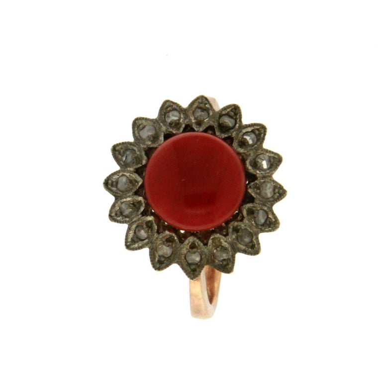 Rose Cut Handcraft Coral 14 Karat Yellow Gold Diamonds Cocktail Ring For Sale