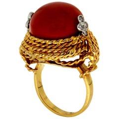 Handcraft Coral 14 Karat Yellow Gold Diamonds Cocktail Ring