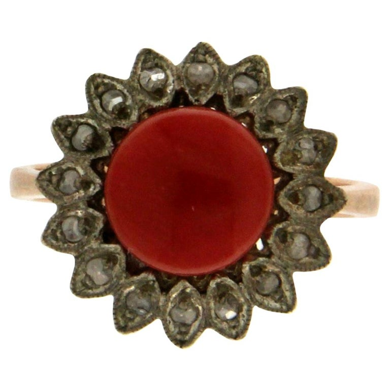 Handcraft Coral 14 Karat Yellow Gold Diamonds Cocktail Ring For Sale