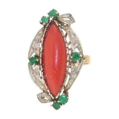 Handcraft Coral 14 Karat Yellow Gold Diamonds Emerald Cocktail Ring