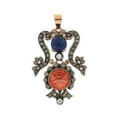 Handcraft Coral 14 Karat Yellow Gold Diamonds Lapis Lazuli Pendant Necklace