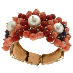 Handcraft Coral 14 Karat Yellow Gold Diamonds Pearls Clamper Bracelet