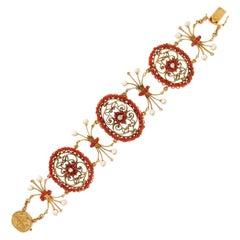Handcraft Coral 14 Karat Yellow Gold Diamonds Pearls Cuff Bracelet