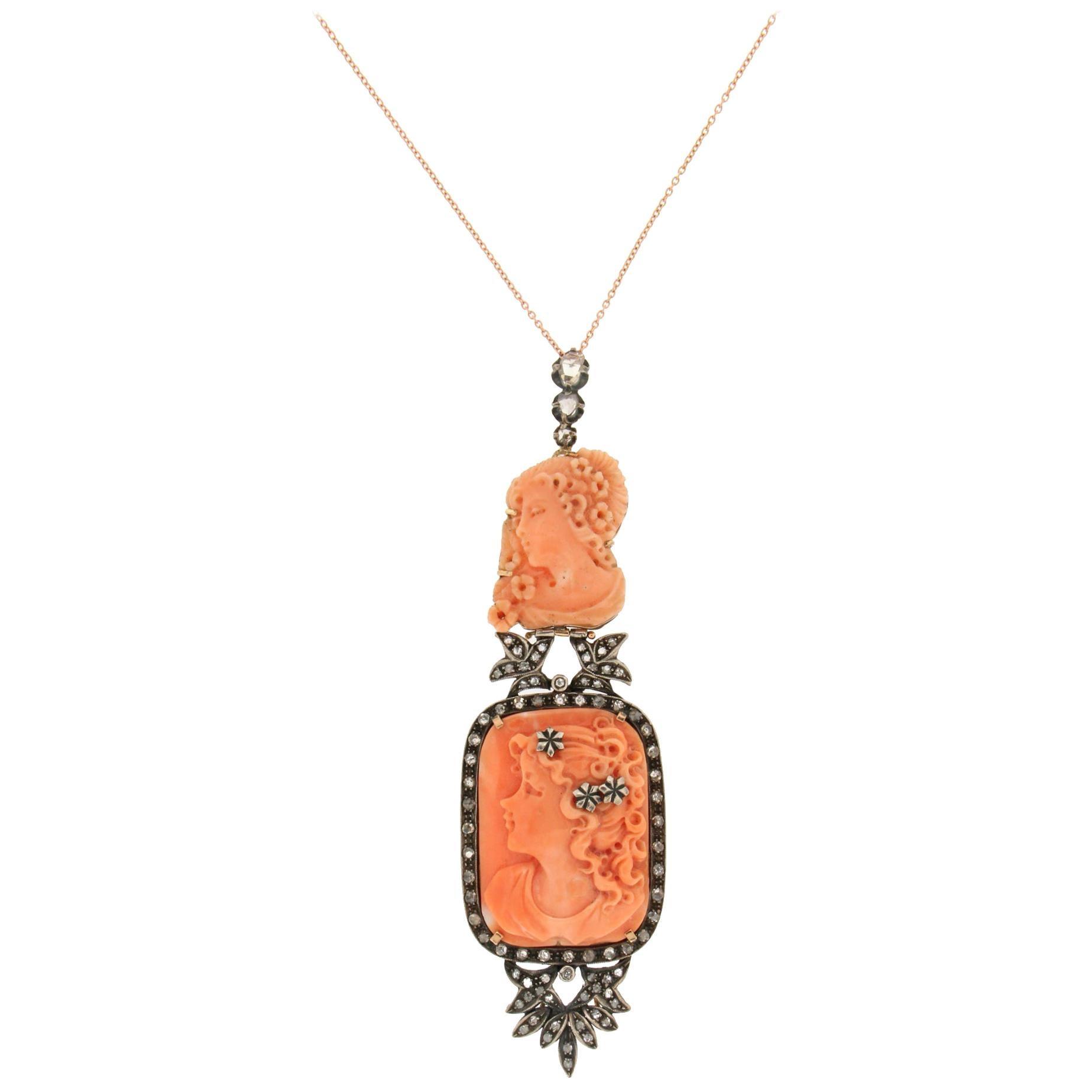Handcraft Coral 14 Karat Yellow Gold Diamonds Pendant Necklace