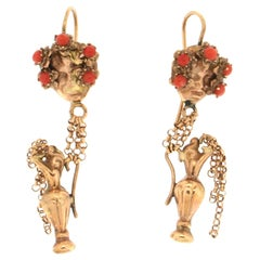 Handcraft Coral 14 Karat Yellow Gold Drop Earrings Anchor