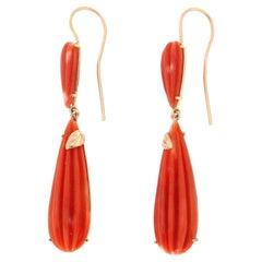 Handcraft Coral 14 Karat Yellow Gold Drop Earrings