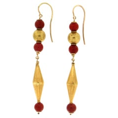 Handcraft Coral 14 Karat Yellow Gold Drop Earrings