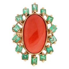 Handcraft Coral 14 Karat Yellow Gold Emeralds Cocktail Ring