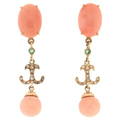 Handcraft Coral 14 Karat Yellow Gold Emeralds Diamonds Drop Earrings