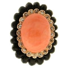 Handcraft Coral 14 Karat Yellow Gold Onyx Diamonds Cocktail Ring