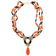 Handcraft Coral 14 Karat Yellow Gold Onyx Emerald Diamonds Drop Necklace