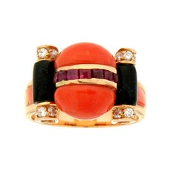 Handcraft Coral 14 Karat Yellow Gold Ruby Onyx Diamonds Cocktail Ring