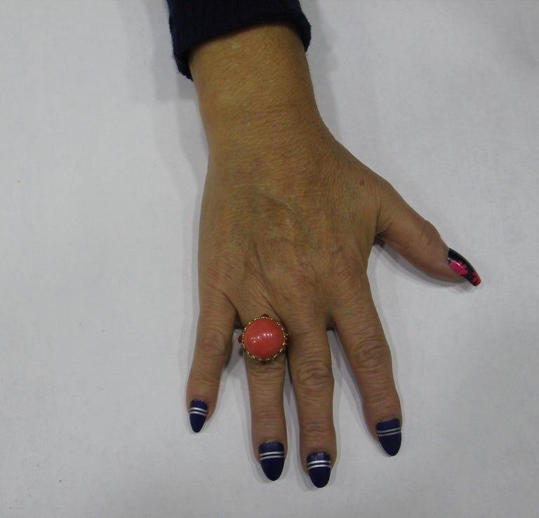 Handcraft Coral 14 Karat Yellow Gold Sapphires Diamonds Cocktail Ring For Sale 5