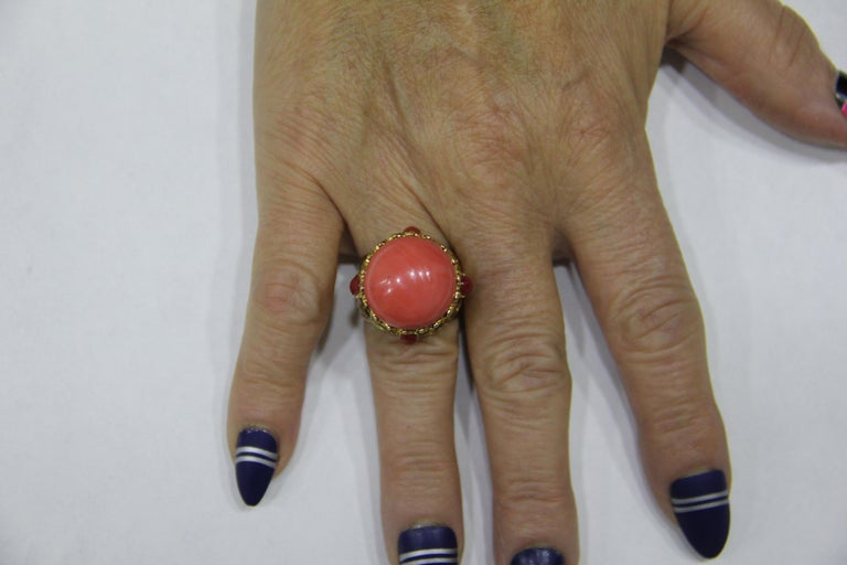 Handcraft Coral 14 Karat Yellow Gold Sapphires Diamonds Cocktail Ring For Sale 7