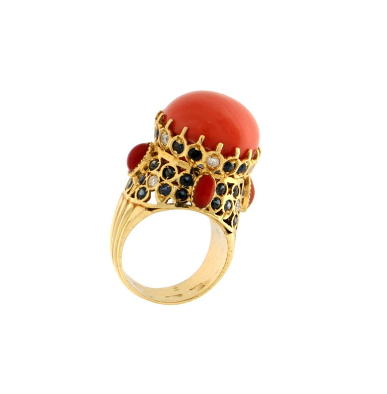 Mixed Cut Handcraft Coral 14 Karat Yellow Gold Sapphires Diamonds Cocktail Ring For Sale