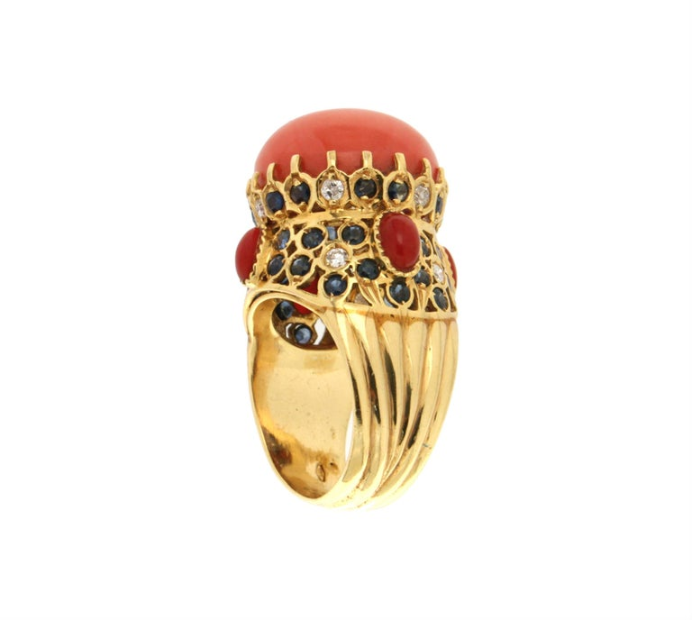 Women's or Men's Handcraft Coral 14 Karat Yellow Gold Sapphires Diamonds Cocktail Ring For Sale