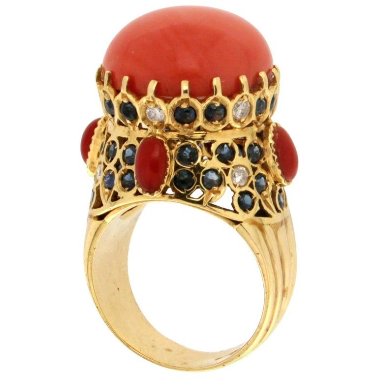 Handcraft Coral 14 Karat Yellow Gold Sapphires Diamonds Cocktail Ring For Sale