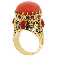 Handcraft Coral 14 Karat Yellow Gold Sapphires Diamonds Cocktail Ring