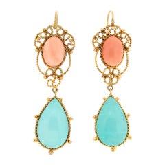 Handcraft Coral 14 Karat Yellow Gold Turquoise Drop Earrings