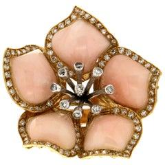 Handcraft Coral 18 Karat Gold Diamonds Flower Cocktail Ring
