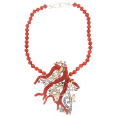 Handcraft Coral 18 Karat White and Yellow Gold Diamonds Drop Necklace