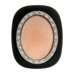 Handcraft Coral 18 Karat White and Yellow Gold Onyx Diamonds Cocktail Ring