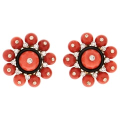 Handcraft Coral 18 Karat White and Yellow Gold Onyx Diamonds Stud Earrings